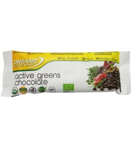 12 x 70 gram: Organic Food Bar Active Greens Chocolade